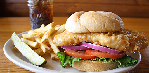 chicken sandwich with fries